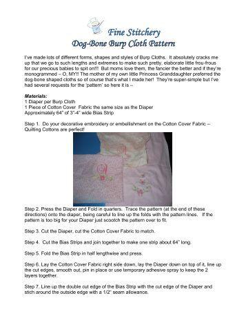 Fine Stitchery Dog-Bone Burp Cloth Pattern
