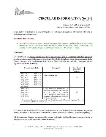 CIRCULAR INFORMATIVA No. 146