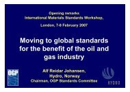 Moving to global standards for the benefit of the oil & gas industry