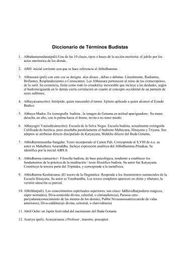 Diccionario de Términos Budistas