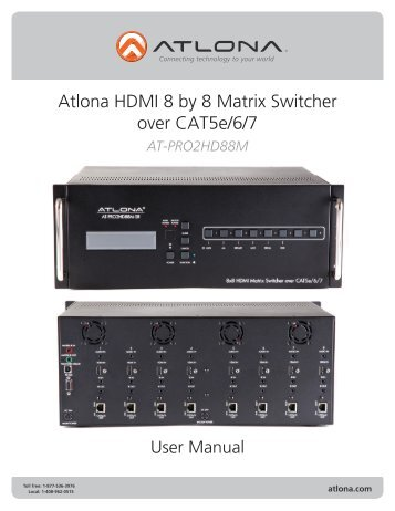 Hdmi v13 extender over single cat5e6 atlona atlona hdmi 8 by 8 matrix switcher over cat5e67 sciox Images
