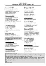 Maria Königin Gottesdienste vom 24. Juni bis 19. August 2012 Liebe ...
