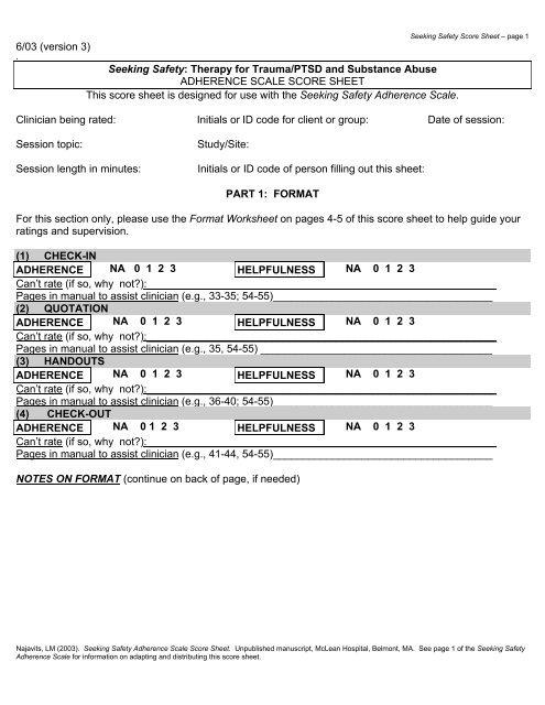 adherence scale score sheet seeking safety