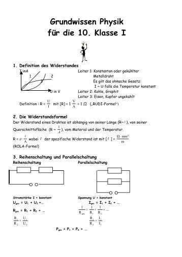 Grundwissen Physik für die 10. Klasse I - Peter-Henlein-Realschule