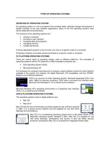 TYPES OF OPERATING SYSTEMS DEFINITION OF OPERATING ...