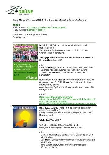 Kurz-Newsletter Aug 2011 (2): Zwei topaktuelle ... - Grüne Winterthur