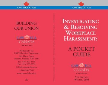 investigating & resolving workplace harassment - CAW