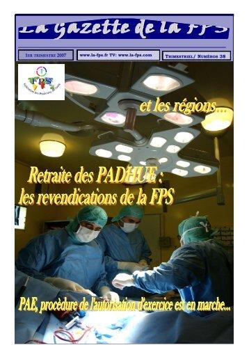La Gazette de la FPS /1er trimestre 2007 / N° 38 Page 1