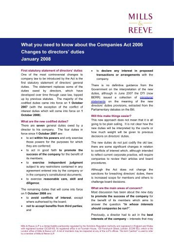 Companies Act 2006 - January 2008 - Mills & Reeve
