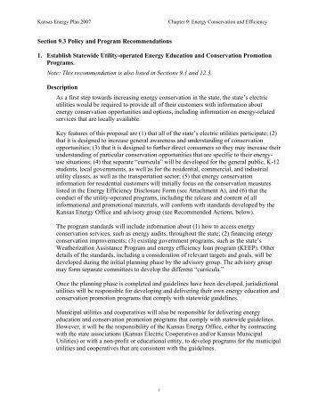 Statewide Energy Conservation Program - Kansas Energy Council