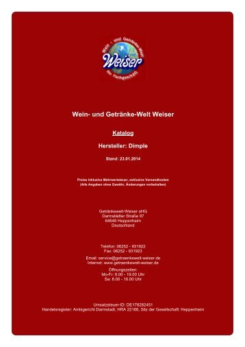 Katalog für Hersteller: Dimple - und Getränke-Welt Weiser