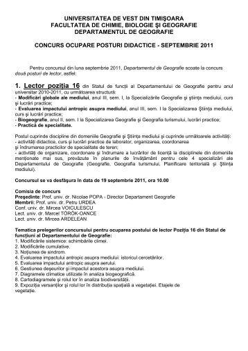 Concurs posturi vacante lector - Departamentul de Geografie