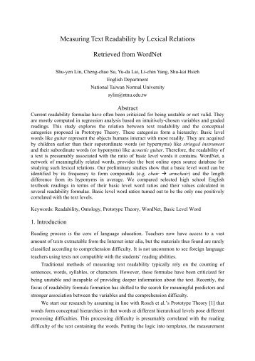 Measuring Text Readability by Lexical Relations Retrieved from ...