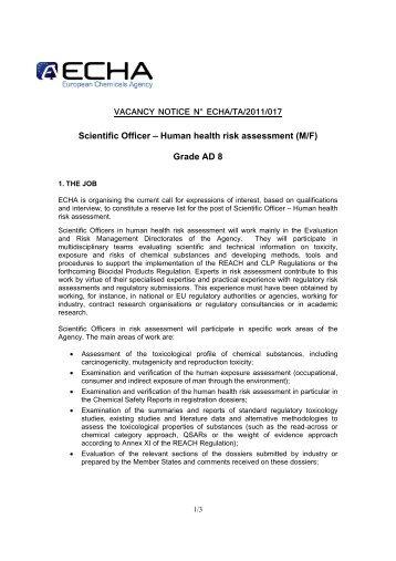 Human health risk assessment - Eurotox