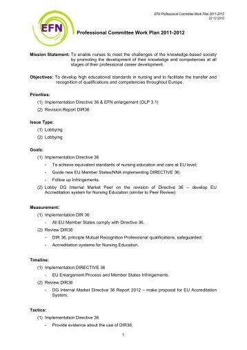 EFN Professional Committee Work Plan
