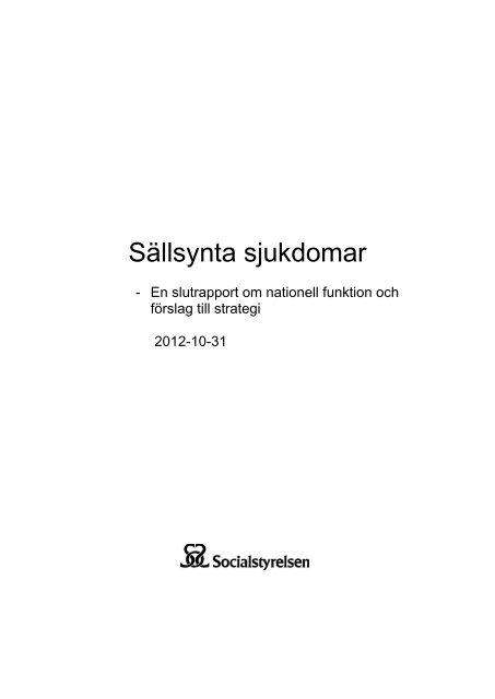 Sällsynta sjukdomar – En slutrapport om nationell funktion och ...