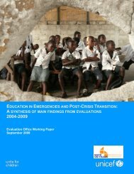 education in emergencies and post-crisis transition - Back on Track