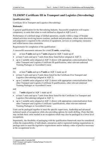TLI30307 Certificate III in Transport and Logistics (Stevedoring)