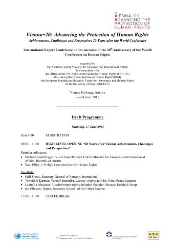 Vienna+20: Advancing the Protection of Human Rights - Ludwig ...
