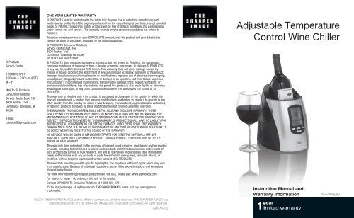 Adjustable Temperature Control Wine Chiller The Sharper Image