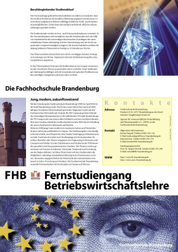 Fernstudiengang Betriebswirtschaftslehre FHB - Fachbereich ...