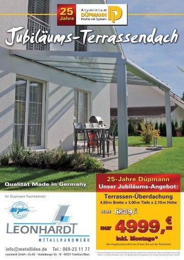 Sonderverkauf Terassendach ohne Montage bis 31.12.2012
