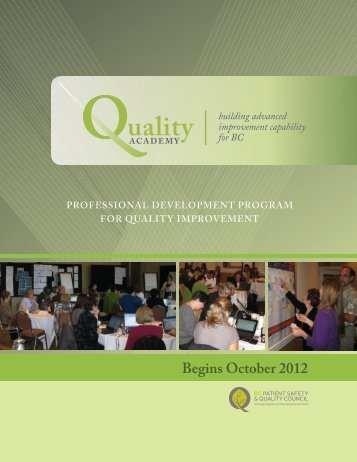 Begins October 2012 - BC Patient Safety & Quality Council