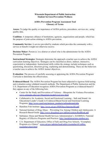 AODA Assessment Glossary - Student Services / Prevention and ...
