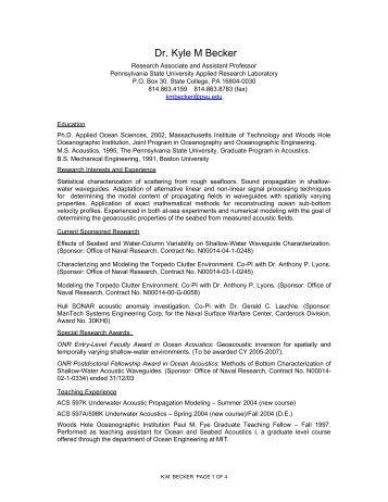Kyle M. Becker - Penn State Personal Web Server - Pennsylvania ...