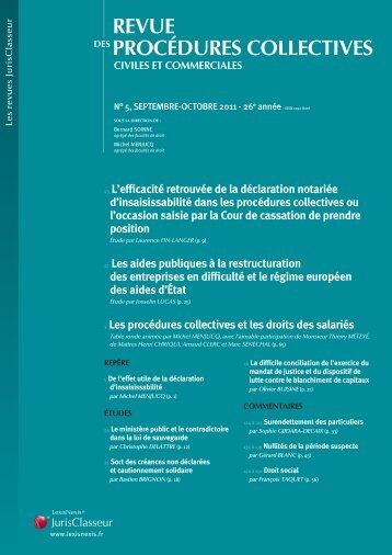 revue procédures collectives civiles et commerciales - LexisNexis