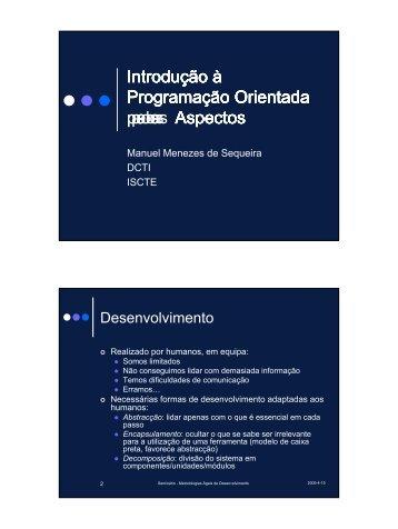 Introdução à Programação Orientada a Aspectos Introdução à ...