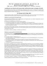 Infos zur anmeldung 2011 - Staatliche Fachoberschule Coburg