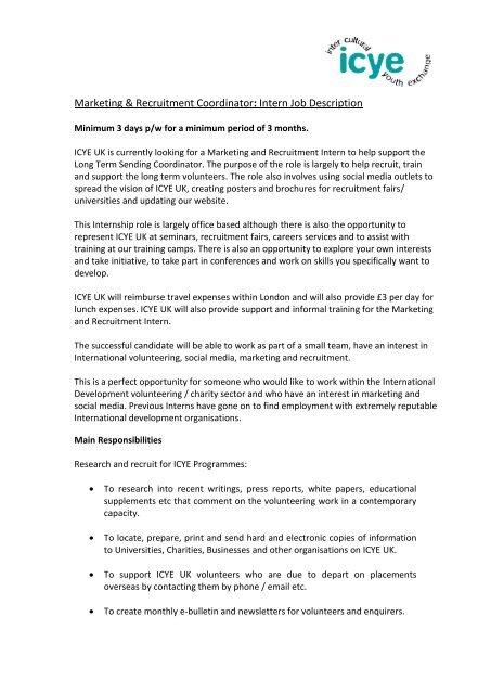 Social Work Intern Job Description | Intern Job Description Charityjob