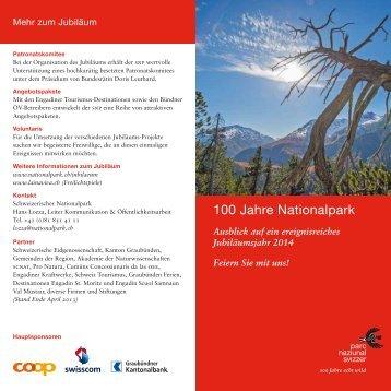 Flyer Ausblick Jubiläum - Schweizerischer Nationalpark