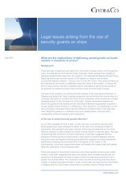 Legal issues arising from the use of security guards on ships - Skuld