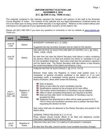 (UDEL) Calendar - Riverside County Registrar of Voters