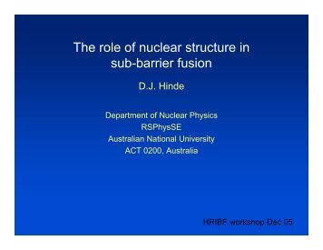 The role of nuclear structure in sub-barrier fusion - ORNL Physics ...