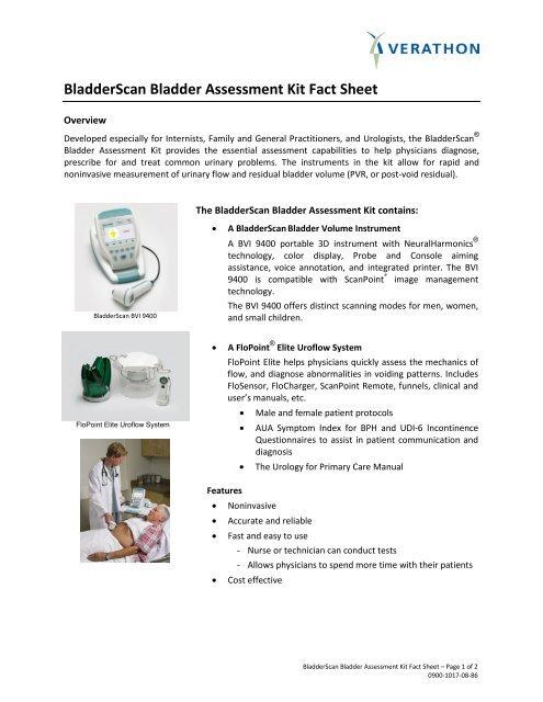 BladderScan Bladder Assessment Kit Fact Sheet - Verathon