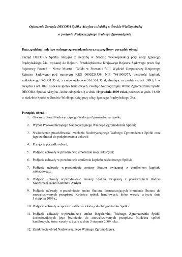 Ogłoszenie Zarządu DECORA Spółka Akcyjna z siedzibą w Środzie ...
