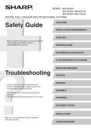 MX-5500N/6200N/6201N/7000N/7001N Operation-Manual ... - Sharp