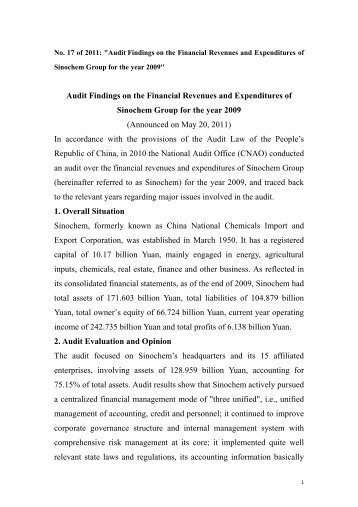 Audit Findings on the Financial Revenues and Expenditures of ...