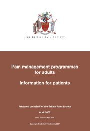Pain management programmes for adults Information for patients