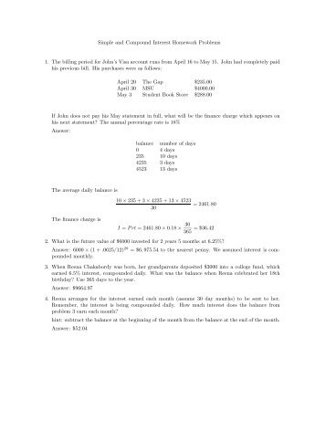 Simple and Compound Interest Homework Problems 1. The billing ...