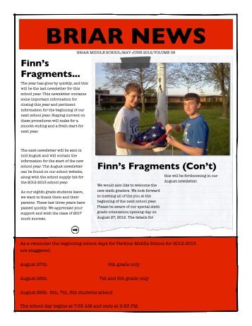 Briar May-June Newsletter - Perkins Local Schools