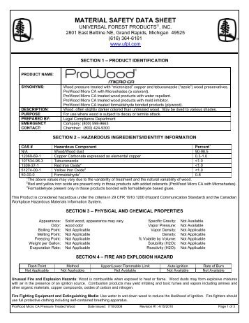ProWood Micro CA MSDS - Bilingual - Home Depot
