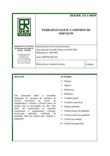 DER/PR ES-T 08/05 TERRAPLENAGEM: CAMINHOS DE SERVIÇOS