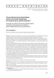 Ocena jakości życia alkoholików przed i po terapii odwykowej Co ...