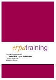 Metadata in Digital Preservation - Erpanet