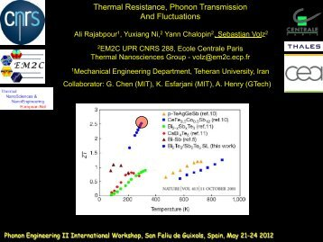 Thermal Resistance, Phonon Transmission And Fluctuations - Icn