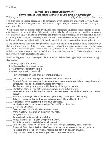 Workplace Values Worksheet - Fog.ccsf.edu
